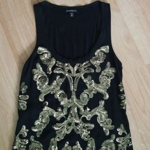 Express Black Top with Gold Sequence